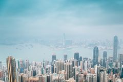 Modern buildings and sea from Victoria peak at Hong Kong royalty free stock photos