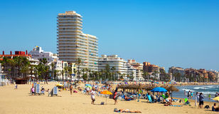 Modern buildings at seaside in Peniscola Royalty Free Stock Images