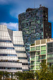 Modern buildings seen from The High Line in Manhattan, New York. Stock Photos