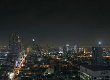 Modern buildings in silom area of bangkok thailand at night Royalty Free Stock Photography
