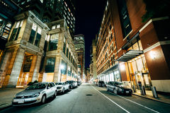 Modern buildings and street in the Financial District at night,. In Boston, Massachusetts Royalty Free Stock Image