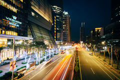Modern buildings and street at night at Banqiao, in New Taipei C Stock Image