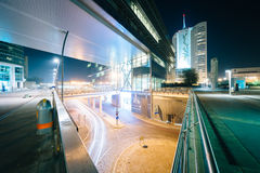 Modern buildings and street at night, in Donau City, in Vienna, Stock Photos