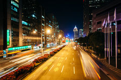 Modern buildings and street at night, in the Xinyi District, Tai Royalty Free Stock Image