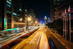 Modern buildings and street at night, in the Xinyi District, Tai Stock Photo