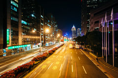 Modern buildings and street at night, in the Xinyi District, Tai Stock Photos