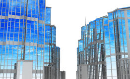 Modern Buildings, Street Sides. Front 3d view of glass and steel building street sides Royalty Free Stock Image