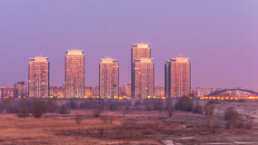 Modern buildings in the suburbs of Bucharest. Modern buildings seen from Vacaresti (delta) in light of sunshine near south-eastern Bucharest Stock Images