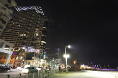 Modern buildings of Tel Aviv by night. Royalty Free Stock Photography