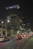 Modern buildings of Tel Aviv by night. Stock Image