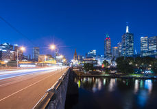 Modern buildings and traffic trails in downtown Melbourne Royalty Free Stock Photography