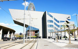 Modern buildings and tramlines. In Les Glories square, Barcelona Stock Photography