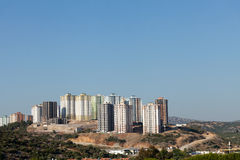 Modern buildings under construction. Panoramic view to modern buildings under construction Royalty Free Stock Image