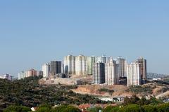 Modern buildings under construction. Panoramic view to modern buildings under construction Stock Photos