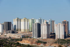 Modern buildings under construction. Panoramic view to modern buildings under construction Royalty Free Stock Photography