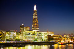 Modern Buildings view includes London's hall and Shard of glass Royalty Free Stock Images