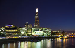 Modern Buildings view includes London's hall and Shard of glass Royalty Free Stock Image