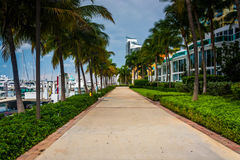 Modern buildings and walkway in South Beach, Miami, Florida. Royalty Free Stock Photo