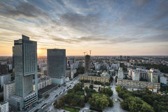 Modern buildings in Warsaw during sundown Stock Photos