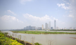 Modern buildings and Xiang River. Modern architectures,Xiang river and sky and cloud Stock Photo