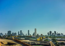 Modern Buildins in Cartagena Colombia. Aerial view from san felipe de barajas fortress of modern buildings at sunny day in Cartagena, the most famous watering stock photos