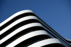 Modern builiding detail. Modern white luxury building with balcony detail Royalty Free Stock Image