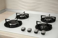 Modern gas cooktop. Kitchen appliance. Modern built-in gas cooktop. Kitchen appliance stock photography