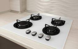 Modern gas cooktop. Kitchen appliance. Modern built-in gas cooktop. Kitchen appliance royalty free stock image