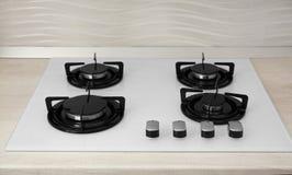 Modern gas cooktop. Kitchen appliance. Modern built-in gas cooktop. Kitchen appliance stock photos