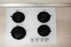 Modern built-in gas cooktop. Kitchen appliance. Modern built-in gas cooktop, top view. Kitchen appliance stock photo