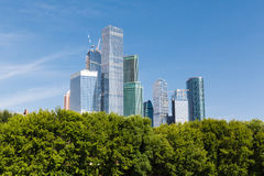 Modern built skyscrapers in the Moscow city Royalty Free Stock Photo