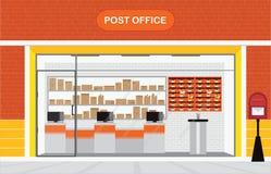 Modern buitenkant en binnenland van de postkantoorbouw vector illustratie