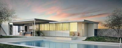 Modern buitenontwerp van huis Stock Foto