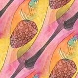 Modern bump, teeth, spoon seamless  watercolor artist wallpaper Royalty Free Stock Image