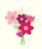 Modern bunch of flowers vector illustration