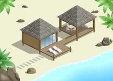 Modern bungalow on  coast Stock Photos