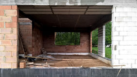 Modern bungalow under construction royalty free stock photo