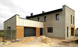 Modern bungalow under construction stock image