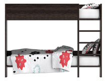 Modern bunk bed with bedding Stock Images