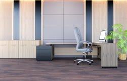 Modern bureau het werk ruimtebinnenland met moderne werkende bureau en bureaustoel Royalty-vrije Stock Foto