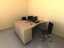 Modern bureau met computersbinnenland Royalty-vrije Stock Fotografie