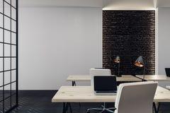 Modern bureau met exemplaarruimte Stock Foto's