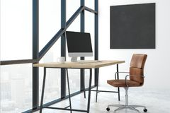 Modern bureau met lege banner Stock Foto