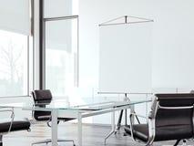 Modern bureau voor onderhandelingen met broodje op het scherm het 3d teruggeven Stock Foto