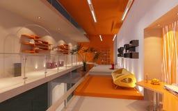 Modern bureau in zolder of zolder Stock Afbeelding