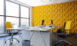 Modern bureaubinnenland met het gele funishing Stock Afbeeldingen