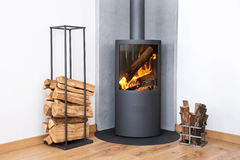 Modern Burning Stove Wood Logs Rack Stock Photography