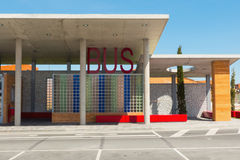 Modern Bus station. View on modern designed public bus station Royalty Free Stock Photos