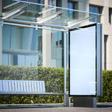 Modern bus stop with blank billboard. 3d rendering Royalty Free Stock Images