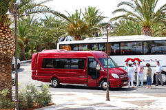 The modern bus for tourists transportation Stock Photos